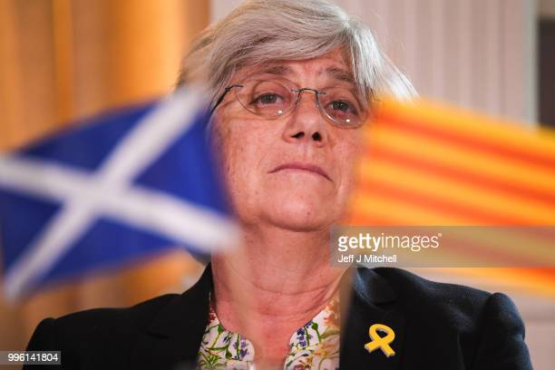 Professor Clara Ponsati attends a press conference with President of the Generalitat of Catalonia Quim Torra lawyer Aamer Anwar ahead of a meeting...