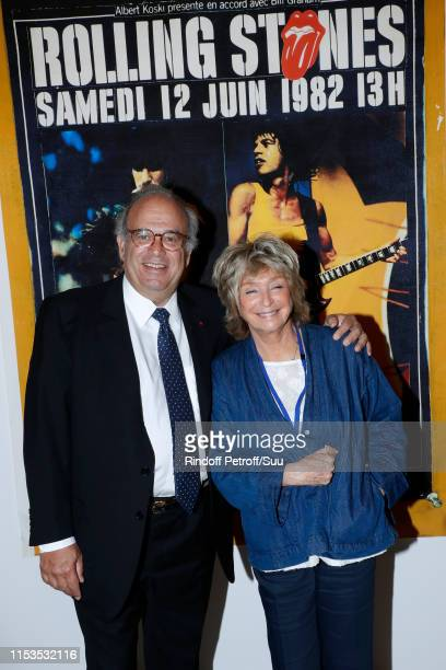 Professor David Khayat and Director Daniele Thompson attend Albert Koski exposes its Rock&Roll Posters Collection at Galerie Laurent Godin on June...