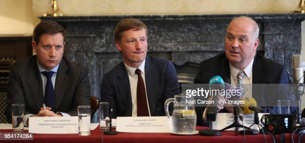 Professor Donal Brennan Dr Jerome Coffey and Chief Medical Officer Dr Tony Holohan from the Health Service Executive clinical expert panel during a...