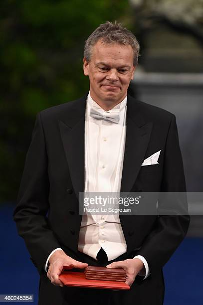 Professor Edvard I Moser laureate of the Nobel Prize in Physiology or Medicine acknowledges applause after he received his Nobel Prize from King Carl...