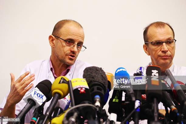 Professor Emmanuel Gay and Professor JeanFrancois Payen attend a press conference at Grenoble University Hospital Centre on Michael Schumacher's...