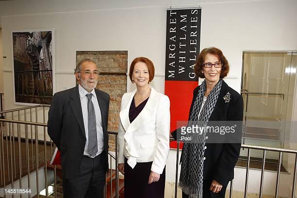 Professor Eric Sidoti Prime Minister Julia Gillard and Professor Janice Reid pictured touring the Margaret Whitlam Gallery at the Parramatta Campus...
