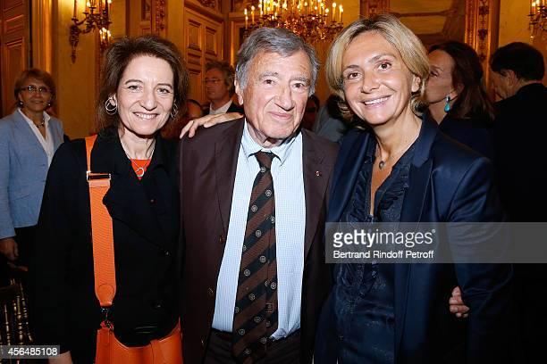 Professor Etienne Emile Baulieu companion Simone Harari and Valerie Pecresse attend Xavier Darcos receives 'L'Epee d'Academicien' in Paris on October...