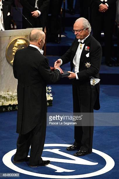 Professor Eugene F. Fama , laureate of The Sveriges Riksbank Prize in Economic Sciences in Memory of Alfred Nobel receives his Nobel Prize from King...