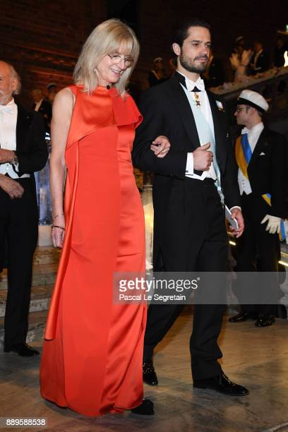 Professor Evi Heldin and Prince Carl Phillip of Sweden attend the Nobel Prize Banquet 2017 at City Hall on December 10 2017 in Stockholm Sweden