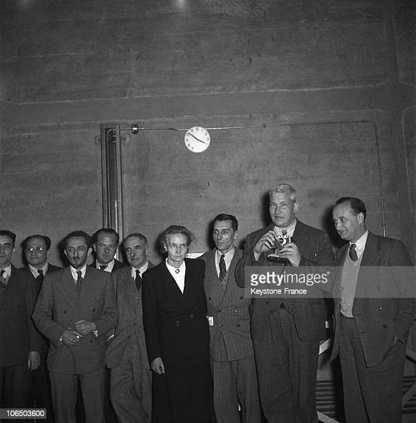 Professor Francis Perrin Raoul Dautry General Administrator Of The Commissariat a L'energie Atomique Frederic And Irene Joliot Curie Kowarski And...