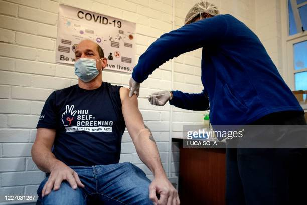 Professor Francois Venter receives an experimental vaccine for COVID-19 coronavirus at the Respiratory & Meningeal Pathogens Research Unit , at Chris...