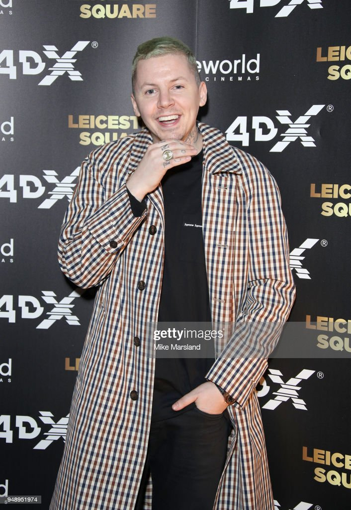 Professor Green aattends the launch of Cineworlds new 4DX screen at Cineworld Leicester Square on April 19, 2018 in London, England.