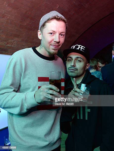 Professor Green and Adam Deacon at the official UK launch of blu eCigs the premier global electronic cigarette and the start of the brand's...
