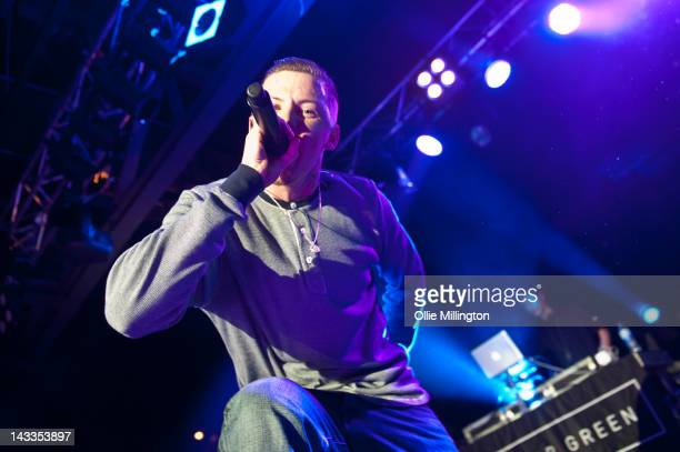 Professor Green and DJ IQ perform on stage at O2 Academy Leicester on April 24 2012 in Leicester United Kingdom