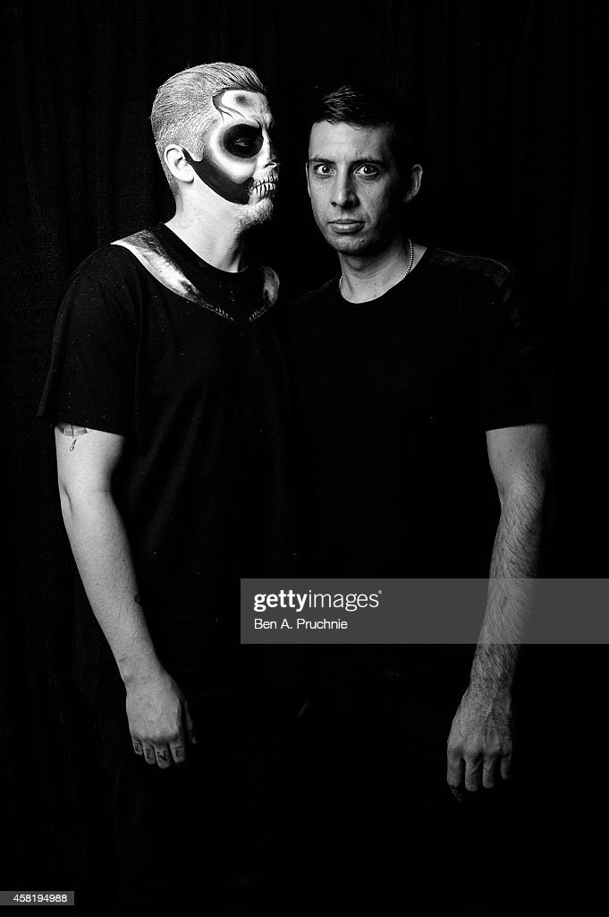 Professor Green and Example poses backstage at the KISS FM Haunted House Party at Eventim Apollo, Hammersmith on October 31, 2014 in London, England.