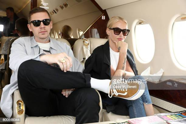 Professor Green and FFae Williams arrives via private jet Falcon 2000 from Gama Aviation ahead of the Jersey Style Awards 2017 in association with...