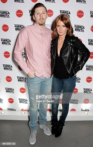 Professor Green and Millie Mackintosh arrive to watch Roundhouse ambassador Sadie Frost perform with FUERZABRUTA at The Roundhouse on January 22 2014...