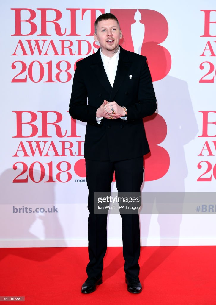 Professor Green attending the Brit Awards at the O2 Arena, London.