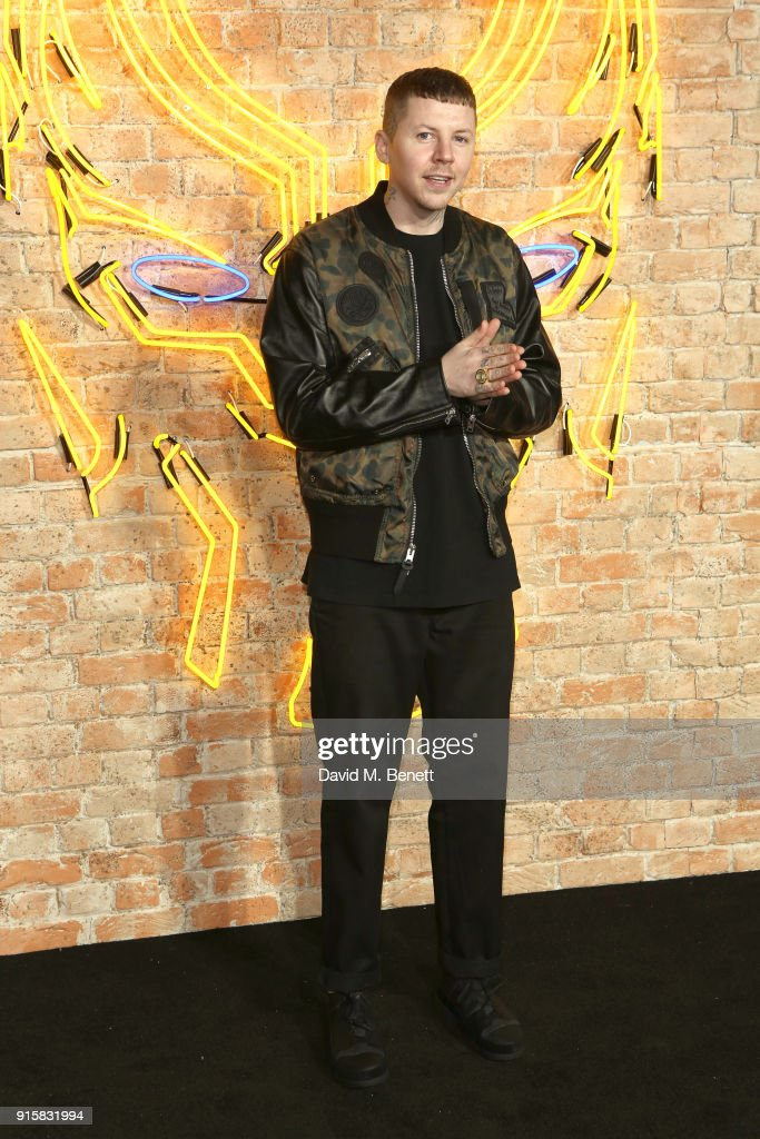 Professor Green attends the European Premiere of 'Black Panther' at the Eventim Apollo on February 8, 2018 in London, England.
