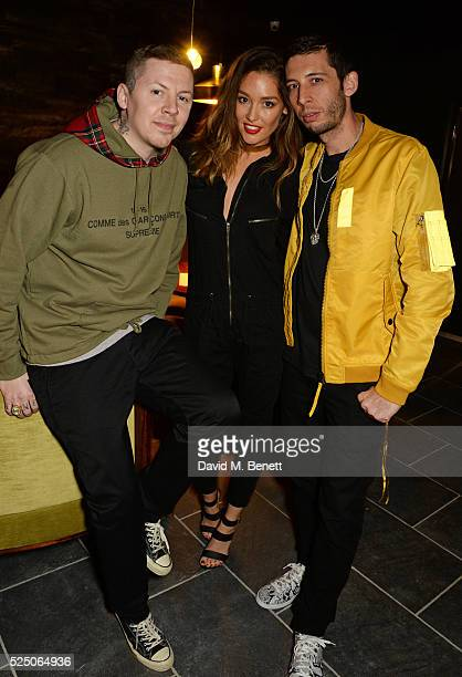Professor Green Erin McNaught and Example attend the launch of Restaurant Ours in Kensington on April 27 2016 in London England