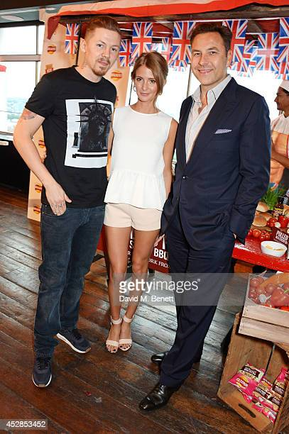 Professor Green Millie Mackintosh and David Walliams attend the 'Walkers 'Do Us A Flavour' finalists launch at Paramount Centre Point on July 28 2014...