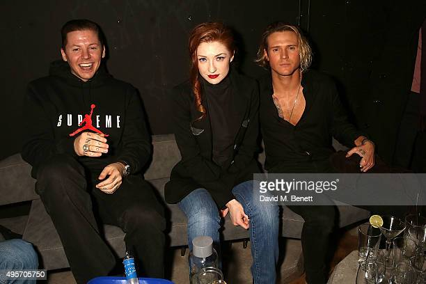 Professor Green Nicola Roberts and Dougie Poynter attend the launch of Zebrano Restaurant on November 4 2015 in London England