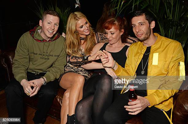 Professor Green Paris Hilton Kate Rothschild and Example attend the launch of Restaurant Ours in Kensington on April 27 2016 in London England