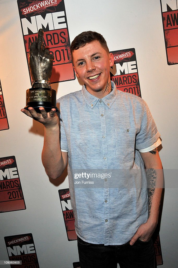 Professor Green poses with his Best Dancefloor Filler award during the NME Awards 2011 at Brixton Academy on February 23, 2011 in London, England.
