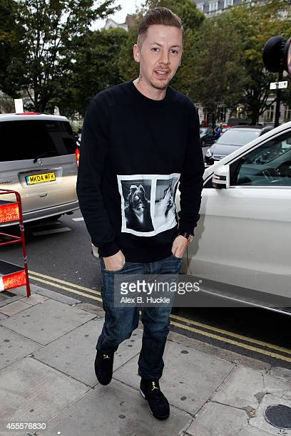 Professor Green seen arriving at the Kiss FM Radio Studios on September 17 2014 in London England Photo by Alex Huckle/GC Images