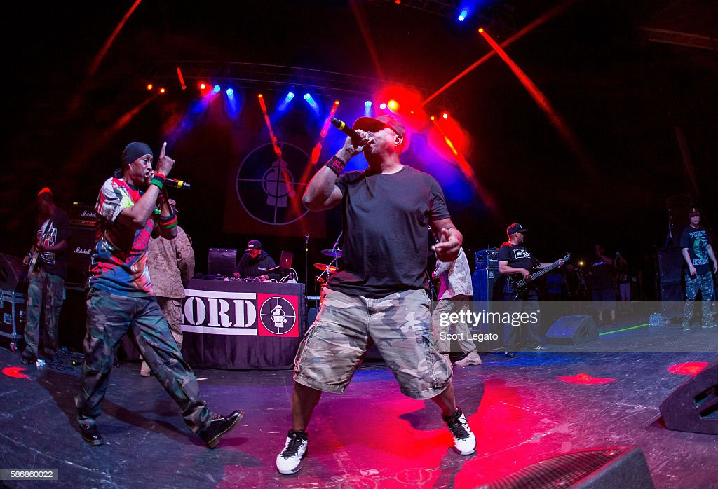 Professor Griff (L) and Chuck D of Public Enemy performs at Freedom Hill Amphitheater on August 6, 2016 in Sterling Heights, Michigan.