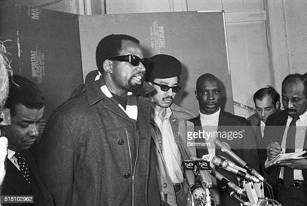 Professor Harry Edwards of San Jose California State College who is the chairman of a committee to boycott the 1968 Olympics gestures during a Harlem...