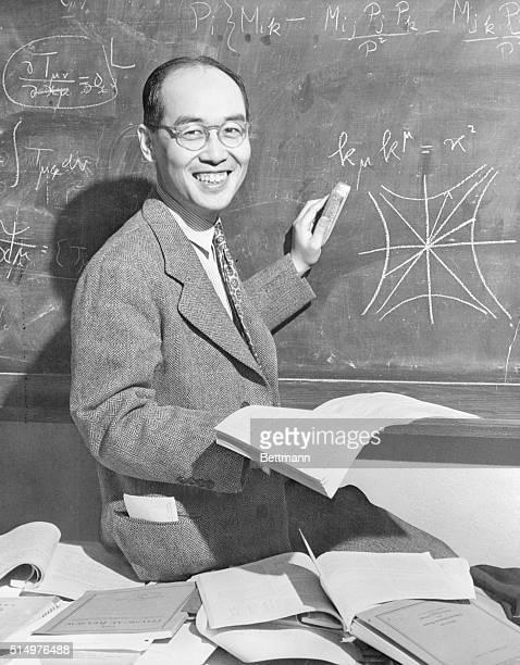 Professor Hideki Yukawa, noted Japanese physicist and winner of the 1949 Nobel Prize, in his office yesterday at Columbia University.
