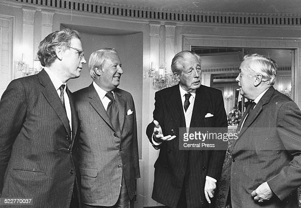 Professor Hugh TrevorRoper Edward Heath Harold Macmillan and Harold Wilson at the Dorchester Hotel for the release of the memoirs of former Prime...