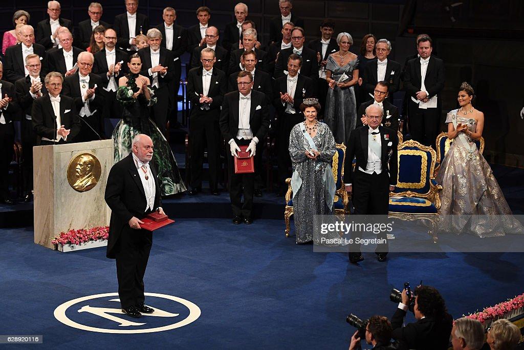 Professor J. Fraser Stoddart, laureate of the Nobel Prize in Chemistry acknowledges applause after he received his Nobel Prize from King Carl XVI Gustaf of Sweden during the Nobel Prize Awards Ceremony at Concert Hall on December 10, 2016 in Stockholm, Sweden.