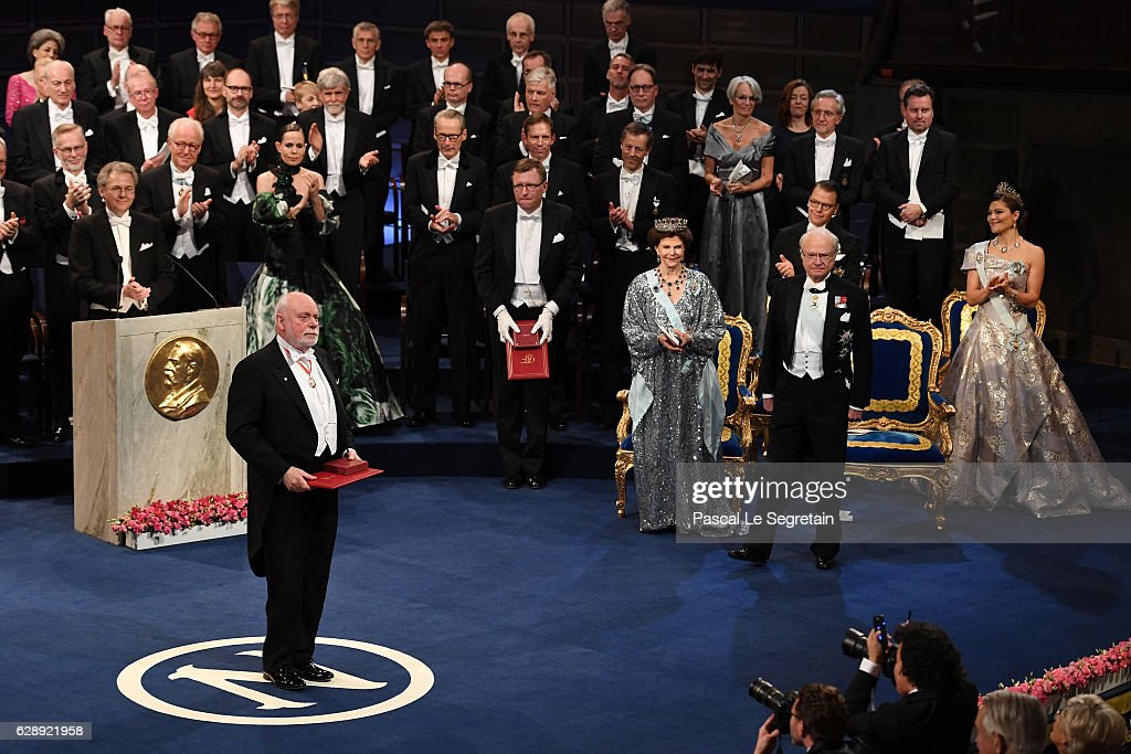 Professor J. Fraser Stoddart, laureate of the Nobel Prize in Chemistry acknowledges applause after he received his Nobel Prize from King Carl XVI Gustaf of Sweden during the Nobel Prize Awards Ceremony at Concert Hall on December 10, 2016 in Stockholm, Sweden.