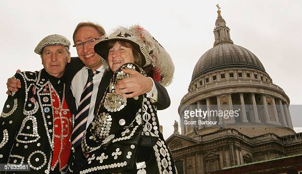 Professor Jack Lohman , the Director of the Museum of London poses with The Pearly King and Queen of Crystal Palace, Pat and Carole Jolly in front of...