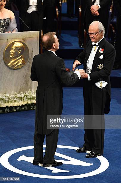 Professor James E Rothman laureate of the Nobel Prize in Physiology or Medicine receives his Nobel Prize from King Carl XVI Gustaf of Sweden during...