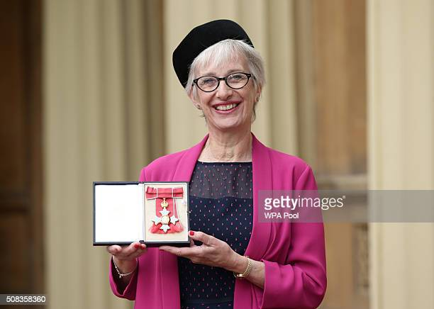 Professor Jane Anderson at Buckingham Palace after she was made a CBE by the Prince of Wales on February 4 2016 in London England