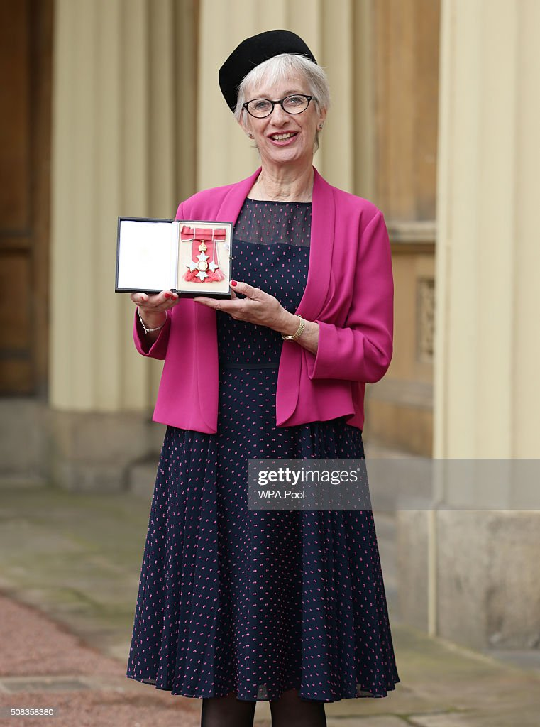 Professor Jane Anderson at Buckingham Palace after she was made a CBE (Commander of the Order of the British Empire) by the Prince of Wales on February 4, 2016 in London, England.
