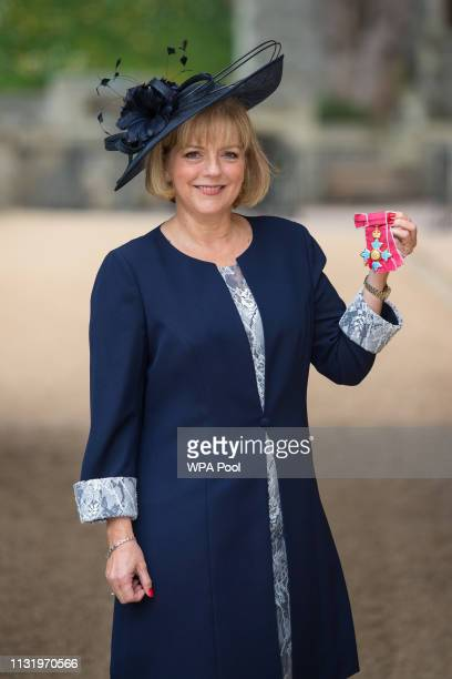 Professor Jane Cummings with her CBE medal awarded by Queen Elizabeth II at an Investiture ceremony at Windsor Castle on March 22 2019 in Windsor...