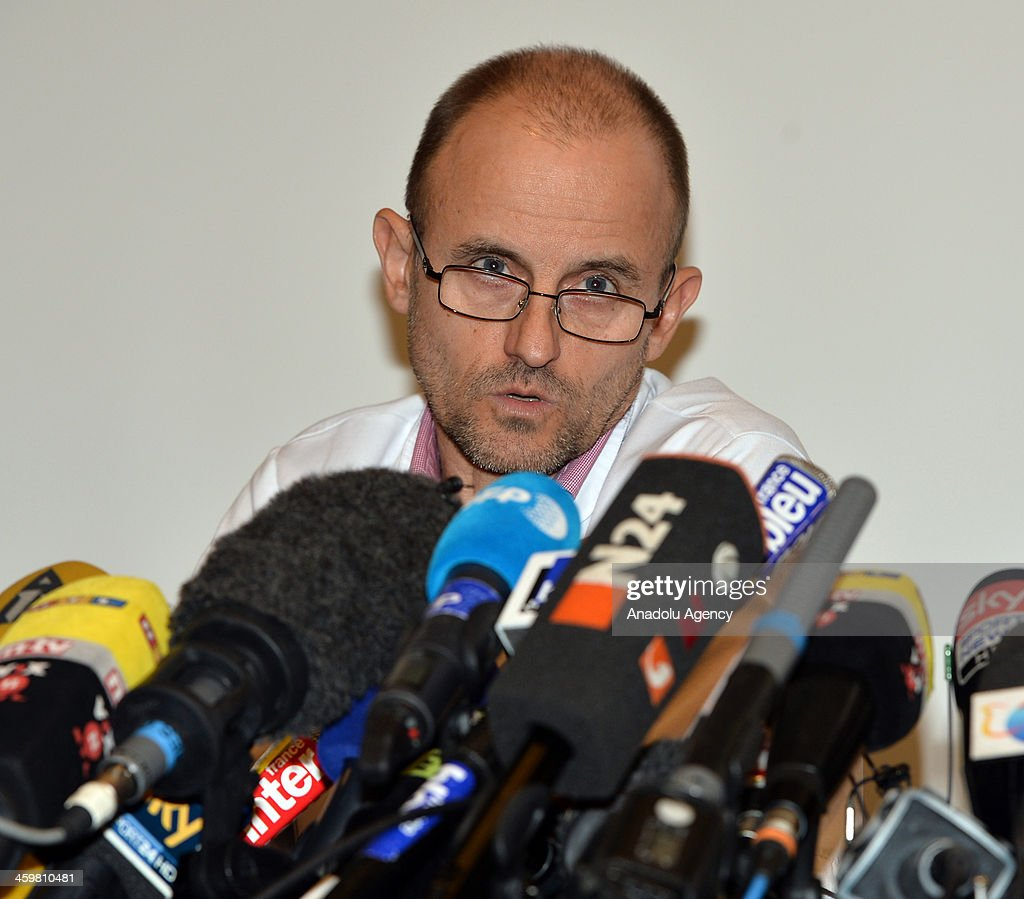 Professor Jean-Francois Payen holds a press conference at Grenoble University Hospital Centre on Michael Schumacher's medical state following his skiing accident on Sunday on December 31, 2013 in Grenoble, France. It is reported that the seven-times Formula One world champion Michael Schumacher is in a critical condition after a skiing accident in the French Alps.
