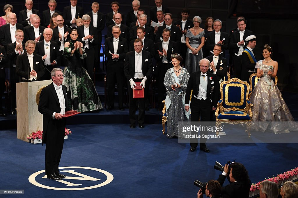 Professor Jean-Pierre Sauvage, laureate of the Nobel Prize in Chemistry acknowledges applause after he received his Nobel Prize from King Carl XVI Gustaf of Sweden during the Nobel Prize Awards Ceremony at Concert Hall on December 10, 2016 in Stockholm, Sweden.