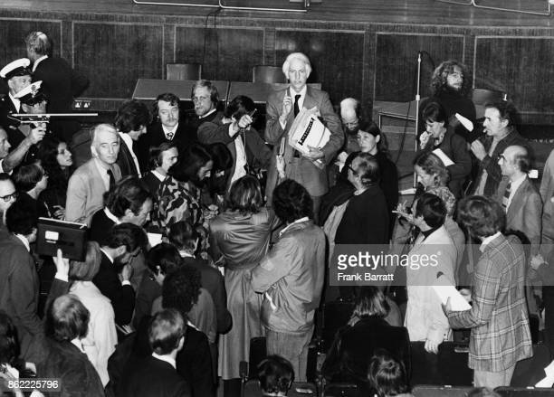Professor John Tyme addresses some of the protestors in Hornsey Town Hall London after they disrupted a public inquiry into the widening of Archway...