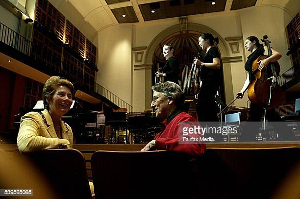 Professor Kim Walker Dean of the Conservatorium of Music with Mary Turner who is the niece of of the late George Henderson George left the...