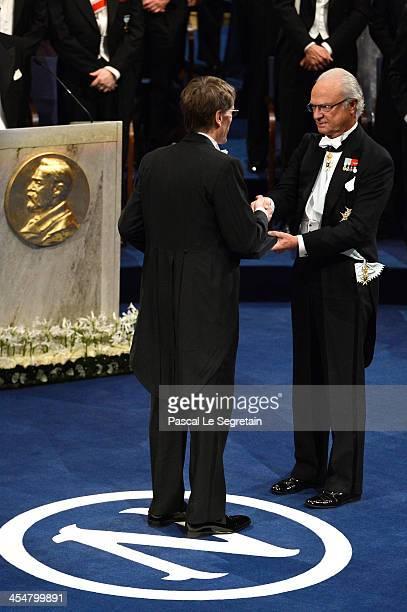 Professor Lars Peter Hansen , laureate of The Sveriges Riksbank Prize in Economic Sciences in Memory of Alfred Nobel receives his Nobel Prize from...