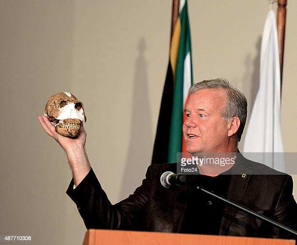 Professor Lee Berger at the reveal of the discovery of a new species of human relative Homo Naledia at The Cradle of Human Kind on September 10 2015...