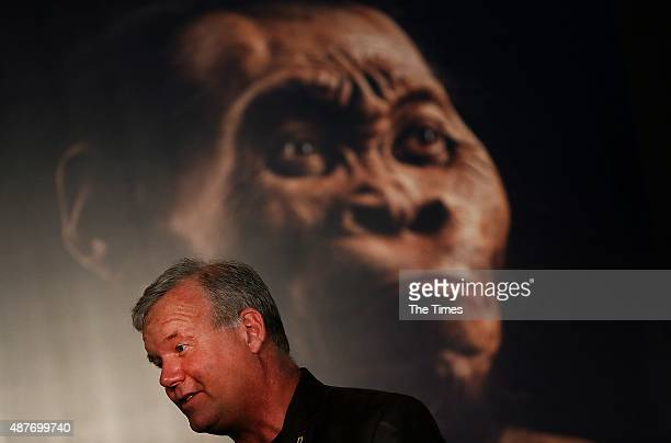 Professor Lee Berger reveals the discovery of a new species of human relative Homo Naledia at The Cradle of Human Kind on September 10 2015 at...