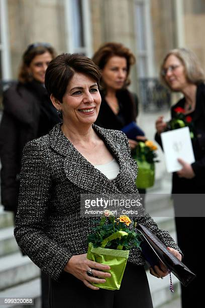 Professor Lihadh Al Gazali from United Arab Emirates leaves the Elysee Palace after a lunch marking International Womens Day