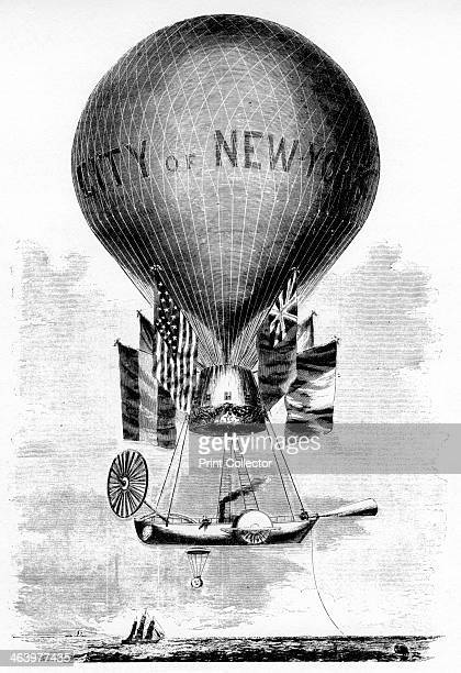 'Professor Lowe's Balloon' c1859 Steamboatpowered airship for transatlantic flights Illustration from Adventures of America 18571900 by John A...