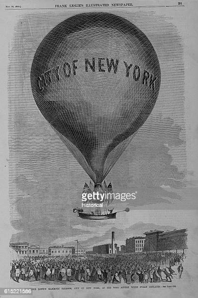 Professor Lowe's balloon City of New York above the grounds of the Crystal Palace in New York The balloon measures 130 feet in diameter and 200 feet...