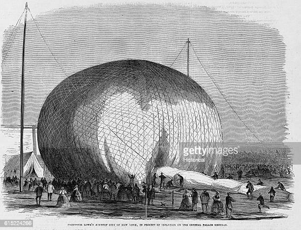 Professor Lowe's balloon City of New York being inflated on the grounds of the Crystal Palace in New York The balloon measures 130 feet in diameter...