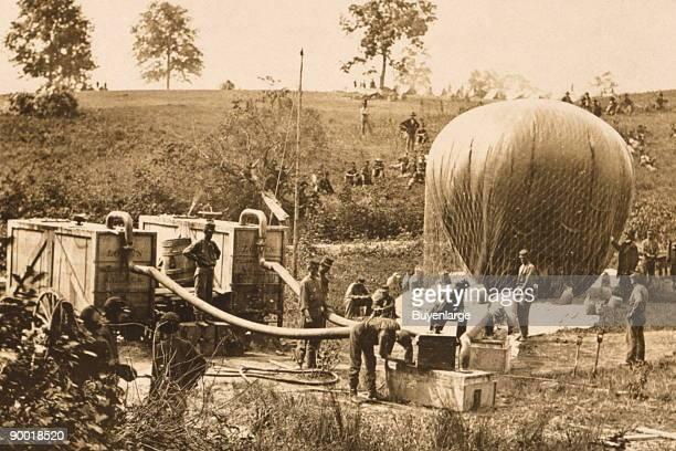 Professor Lowe's military balloon near Gaines Mill Virginia