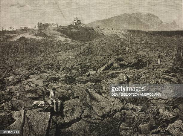 Professor Luigi Palmieri's observatory at the foot of the cone the eruption of Vesuvius Naples Italy illustration from the magazine The Graphic...