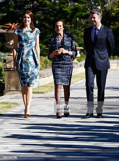 Professor Marie Bashir The Crown Princess Mary of Denmark and The Crown Prince Frederick of Denmark take a stroll inside the gardens of Government...